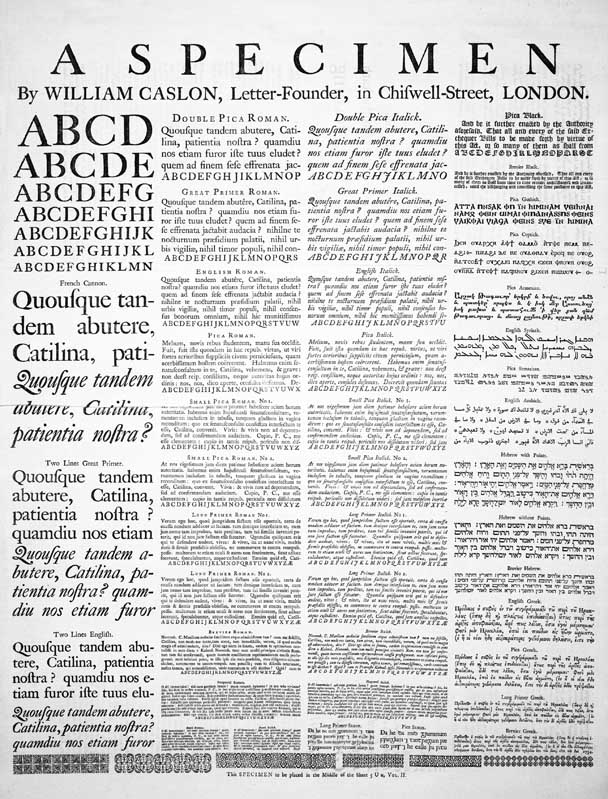 A Specimen of typeset fonts and languages, by William Caslon, letter founder; from the 1728 Cyclopaedia.
